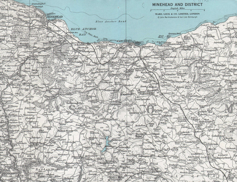 MINEHEAD & DISTRICT. Exmoor Brendon Hills Watchet. Somerset. WARD LOCK 1968 map