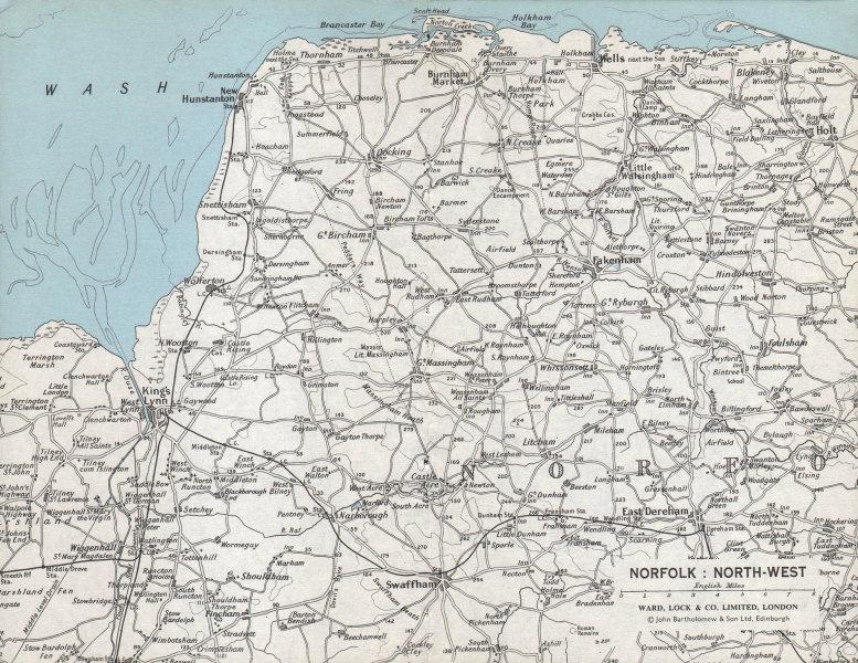 NORFOLK NORTH WEST COAST. King's Lynn Hunstanton Swaffham. WARD LOCK 1971 map