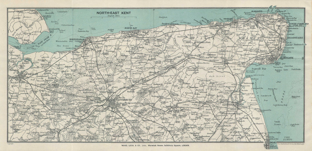 NORTH-EAST KENT. Thanet Faversham Canterbury Sandwich Ramsgate Margate 1937 map