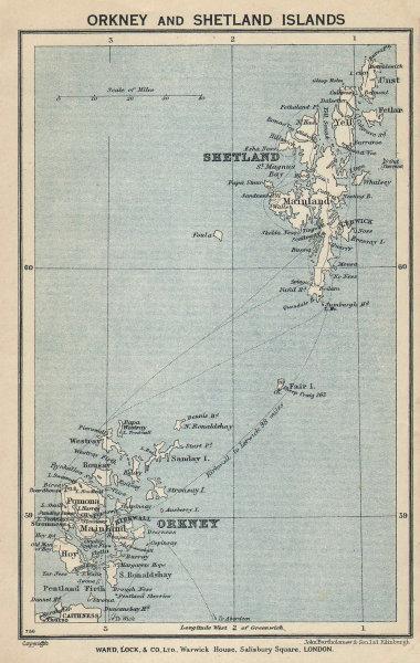 ORKNEY & SHETLAND ISLANDS vintage tourist map. Scotland. WARD LOCK 1934