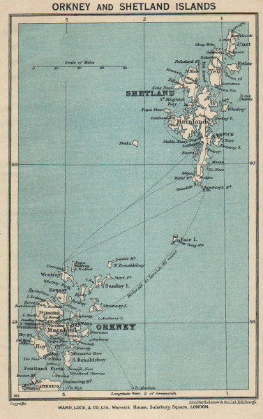 ORKNEY & SHETLAND ISLANDS vintage tourist map. Scotland. WARD LOCK 1940