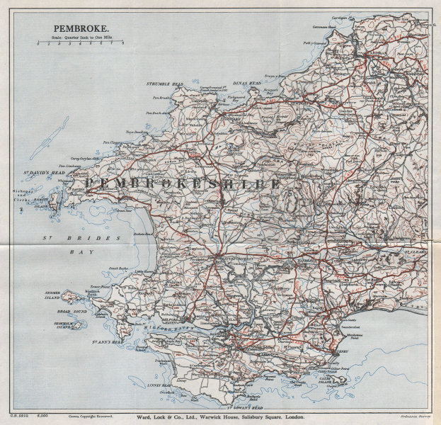 PEMBROKESHIRE. Cardigan Pembroke Tenby St David's. Wales. WARD LOCK 1936 map