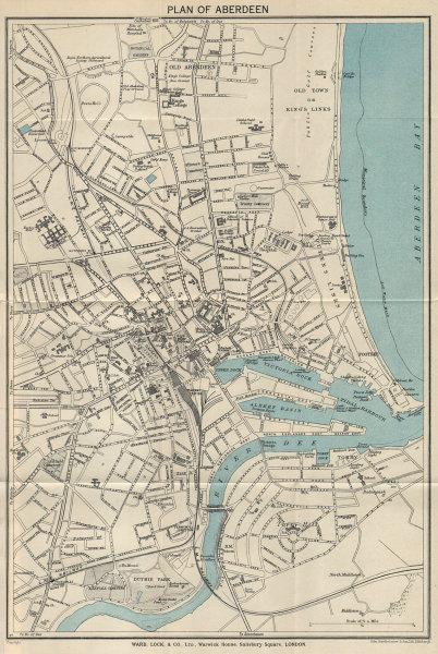 ABERDEEN vintage tourist town city plan. Scotland. WARD LOCK 1940 old map