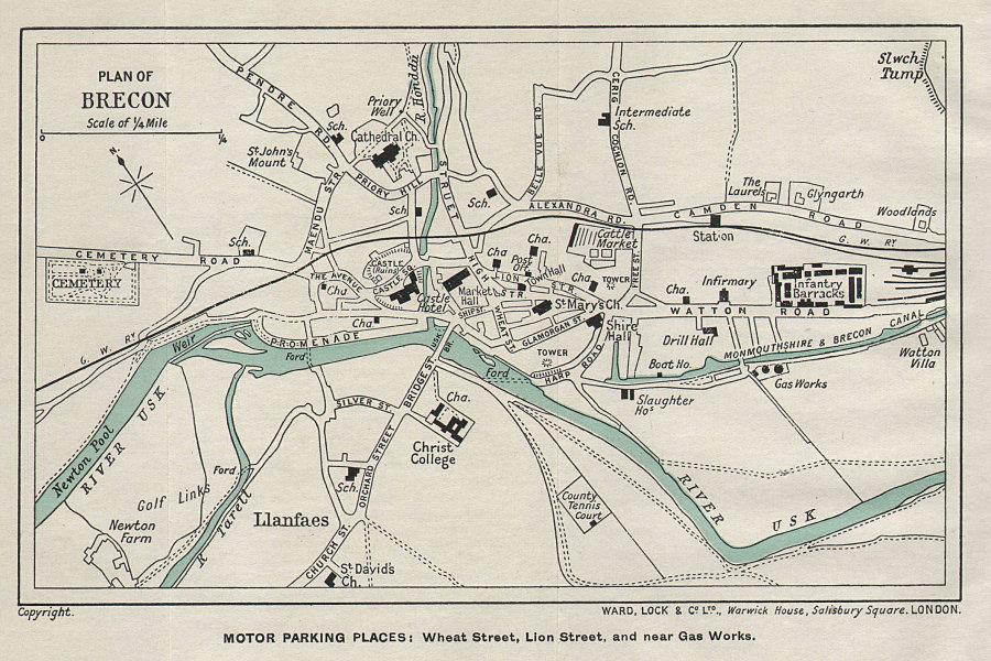 BRECON vintage tourist town city plan. Wales. WARD LOCK 1936 old vintage map