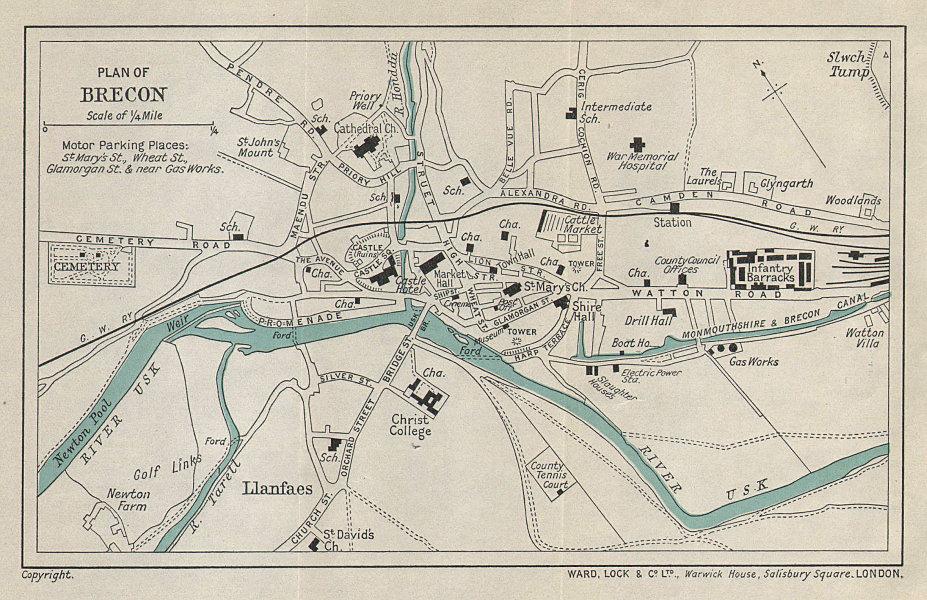 BRECON vintage tourist town city plan. Wales. WARD LOCK 1938 old vintage map