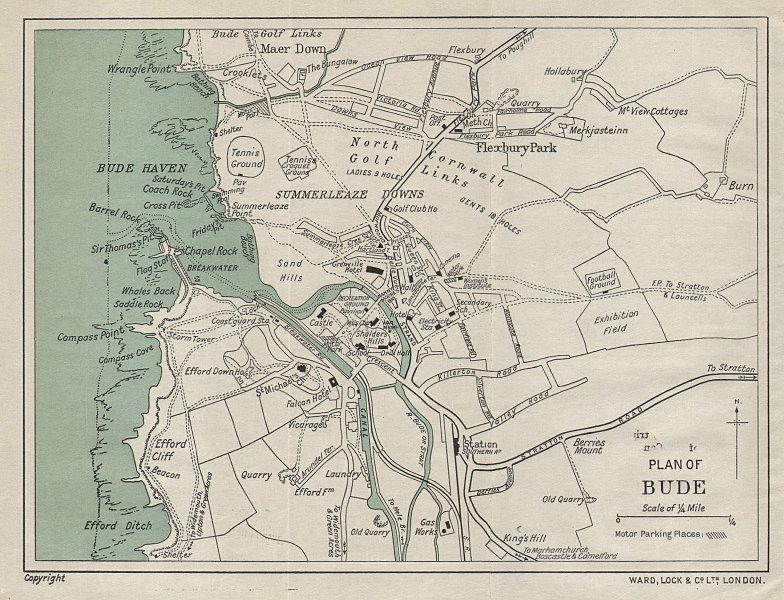 BUDE vintage tourist town city resort plan. Cornwall. WARD LOCK 1933 old map