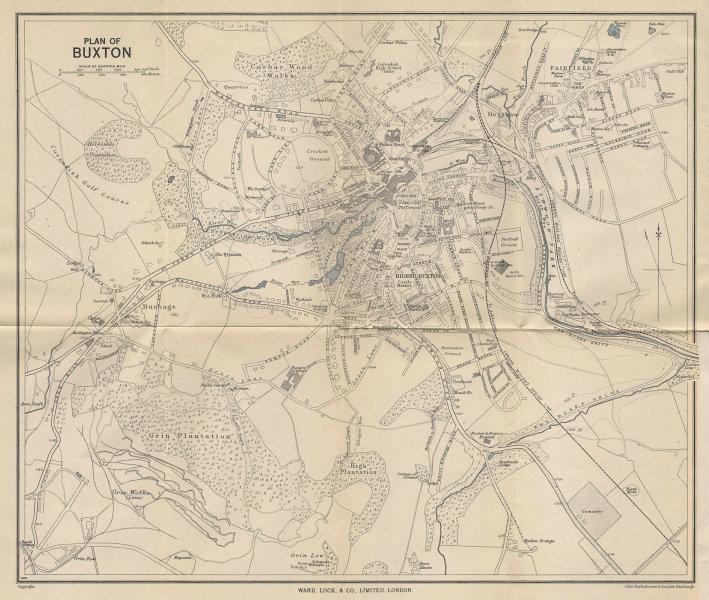 BUXTON vintage tourist town city plan. Derbyshire. WARD LOCK 1950 old map