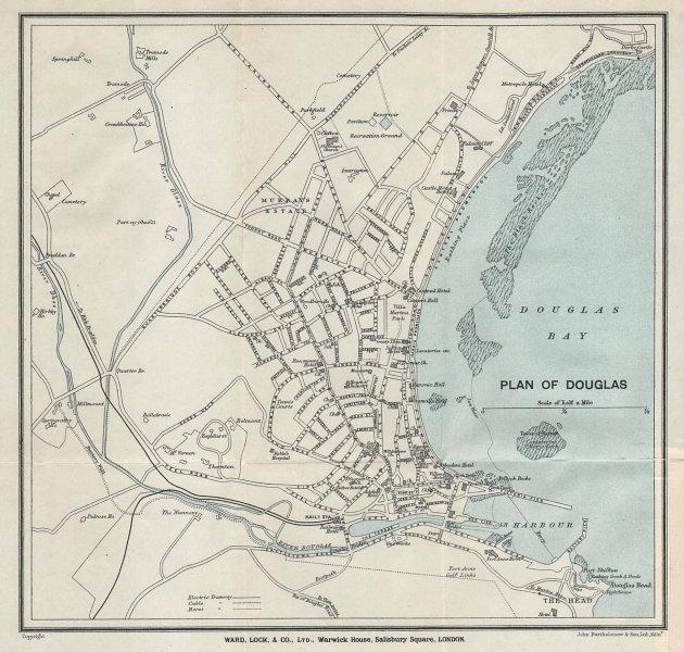 DOUGLAS vintage tourist town city plan. Isle of Man. WARD LOCK 1923 old map