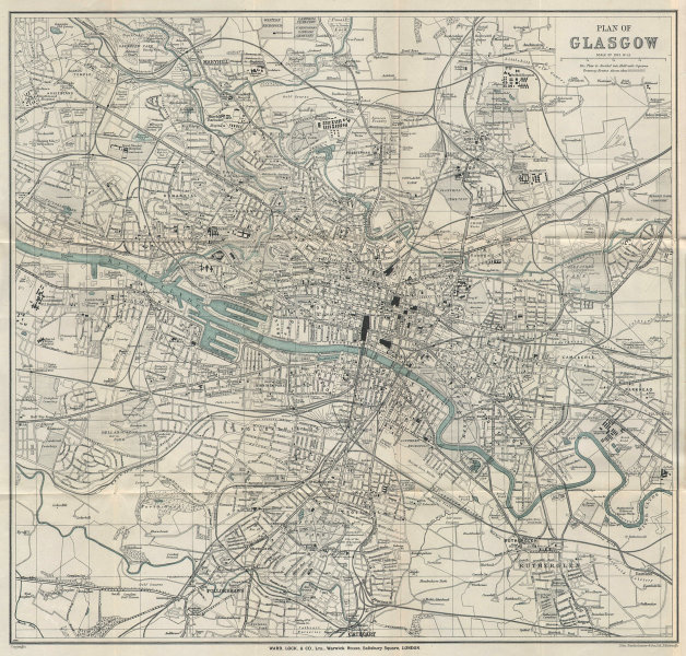 GLASGOW vintage tourist town city plan. Scotland. WARD LOCK 1931 old map