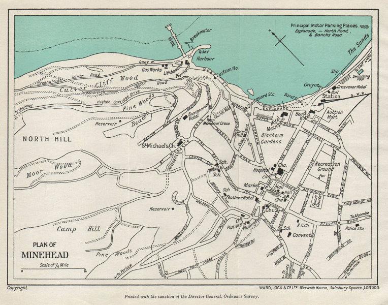 MINEHEAD vintage tourist town city plan. Somerset. WARD LOCK 1940 old map