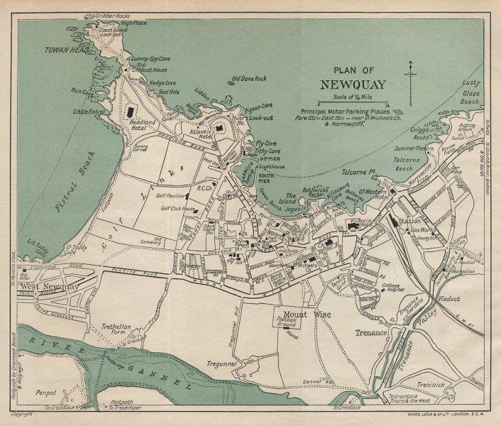 NEWQUAY vintage tourist town city resort plan. Cornwall. WARD LOCK 1933 map