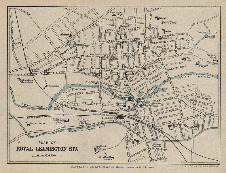 ROYAL LEAMINGTON SPA vintage tourist town city plan. Warcs. WARD LOCK 1900 map