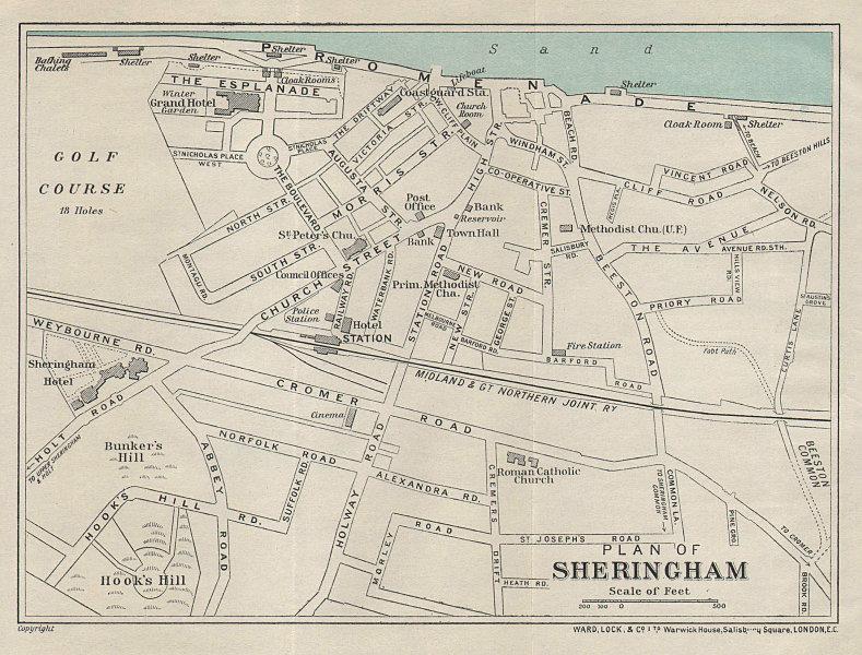 SHERINGHAM vintage tourist town city plan. Norfolk. WARD LOCK 1931 old map