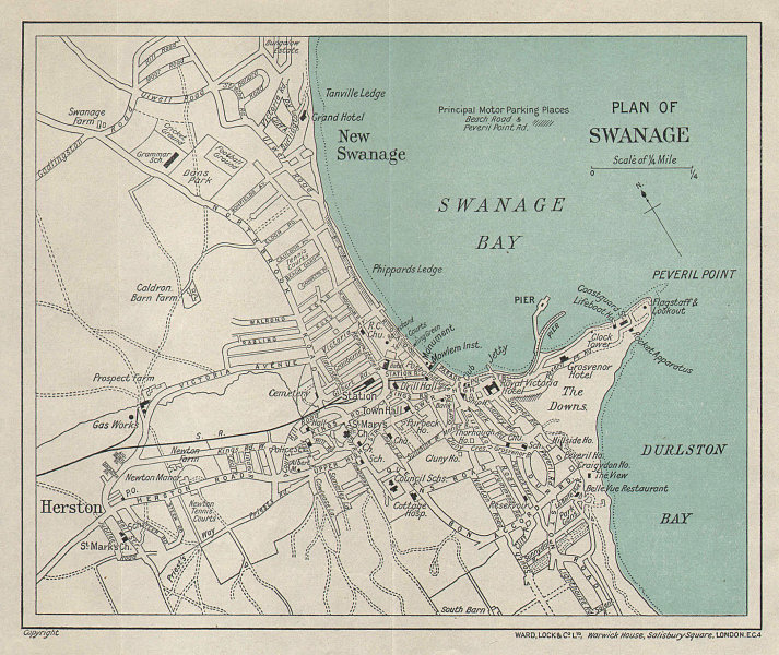 SWANAGE vintage tourist town city resort plan. Dorset. WARD LOCK 1939 old map
