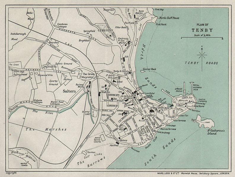 TENBY vintage tourist town city resort plan. Wales. WARD LOCK 1936 old map