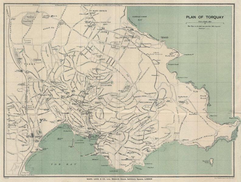 TORQUAY vintage tourist town city resort plan. Devon. WARD LOCK 1924 old map