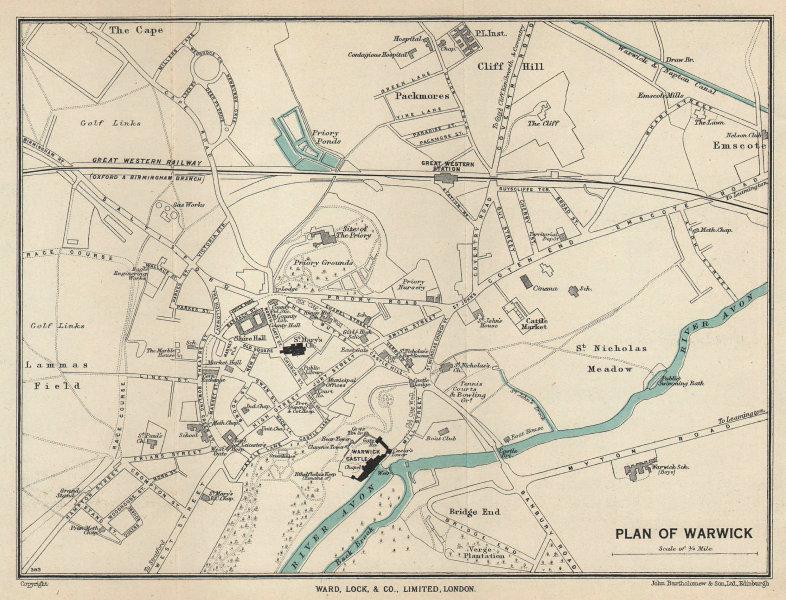 WARWICK vintage tourist town city plan. Warwickshire. WARD LOCK 1940 old map