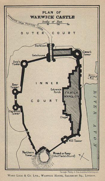 WARWICK vintage tourist town city plan. Warwickshire. WARD LOCK 1900 old map