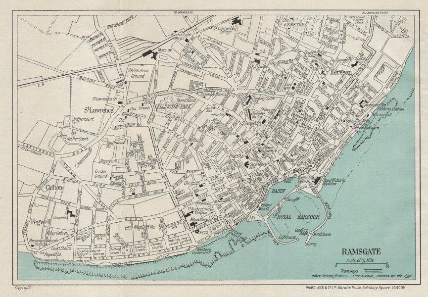 RAMSGATE vintage tourist town city resort plan. Kent. WARD LOCK 1937 old map