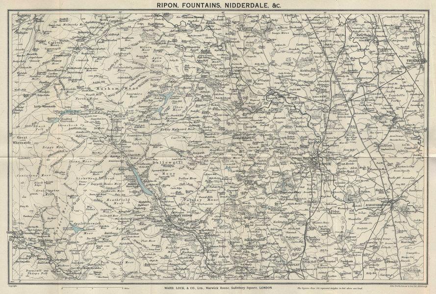 RIPON & NIDDERDALE vintage tourist map. Yorkshire Dales. WARD LOCK 1939