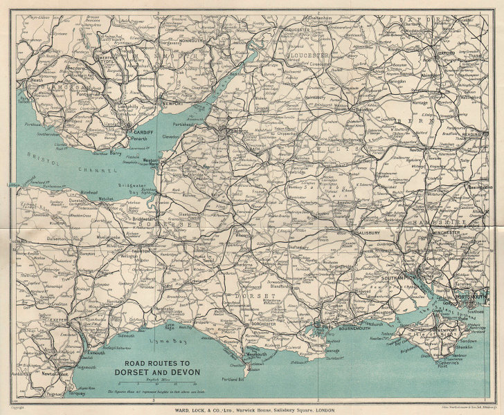 ROAD ROUTES TO DORSET & DEVON. Pre-motorways. South West England 1937 old map