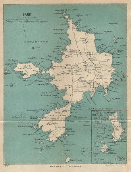 SARK vintage tourist map. Herm & Jethou. Channel Islands. WARD LOCK 1950