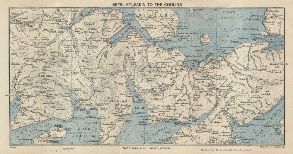ISLE OF SKYE SOUTH. Kyleakin to the Cuillins. Scotland. WARD LOCK 1950 old map