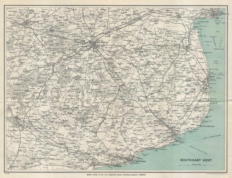 SOUTH EAST KENT Canterbury Deal Dover Folkestone Ashford Faversham 1928 map