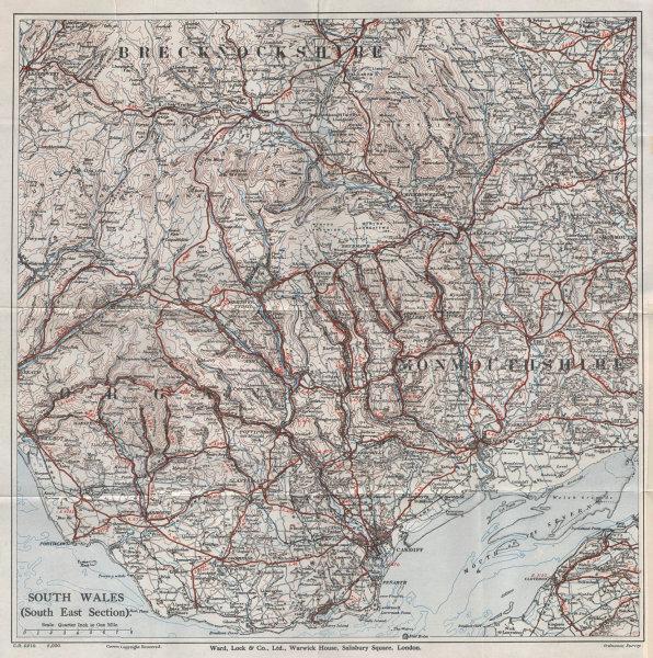 SOUTH WALES VALLEYS Cardiff Newport Neath Barry Bridgend Brecon Beacons 1936 map