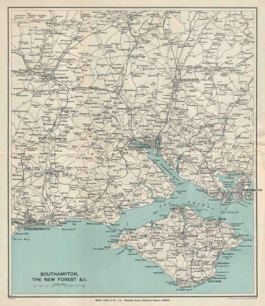 SOUTHAMPTON ENVIRONS Isle of Wight New Forest Bournemouth Winchester 1933 map