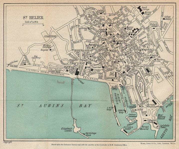 ST. HELIER vintage town city plan. Jersey Channel Islands. WARD LOCK 1950 map