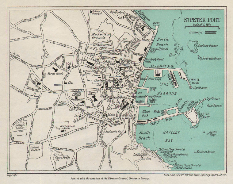 ST PETER PORT vintage town plan. Guernsey Channel Islands. WARD LOCK 1950 map