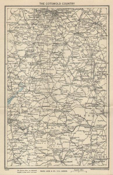 THE COTSWOLDS Gloucester Cheltenham Oxford Bath Cirencester. WARD LOCK 1945 map
