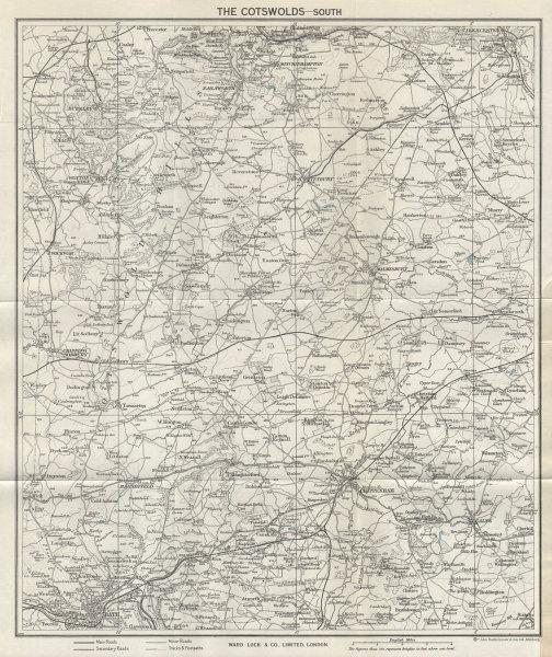 SOUTH COTSWOLDS vintage map. Bath Cirencester Chippenham Tetbury. WARD LOCK 1964