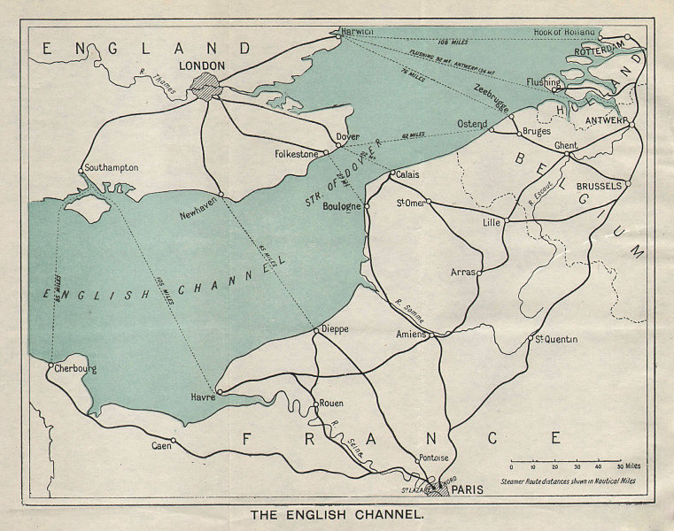 ENGLISH CHANNEL vintage tourist map. Ferry routes. Ports. WARD LOCK 1928