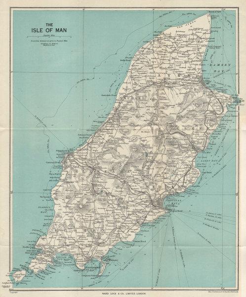 THE ISLE OF MAN vintage tourist map. Douglas Ramsey Peel. WARD LOCK 1952