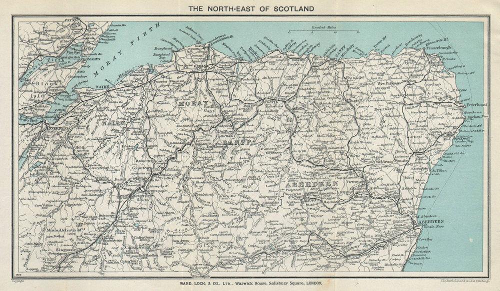 SCOTLAND NORTH-EAST vintage tourist map. Scottish Highlands. WARD LOCK 1934
