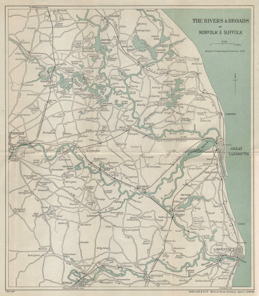 THE NORFOLK BROADS. Great Yarmouth Lowestoft Beccles Norwich. WARD LOCK 1937 map