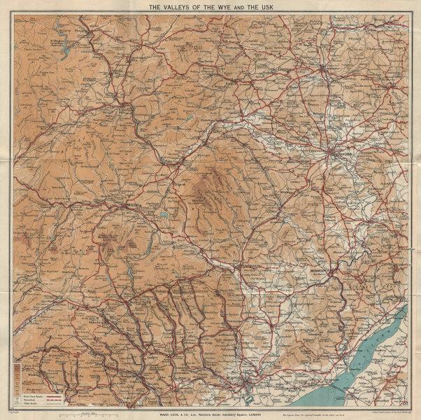 WYE & USK VALLEYS. Newport Monmouth Merthyr Tydfil Hereford Pontypridd 1939 map