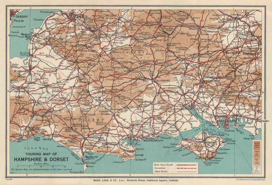 TOURING MAP OF HAMPSHIRE & DORSET. Wiltshire Somerset. WARD LOCK 1939 old