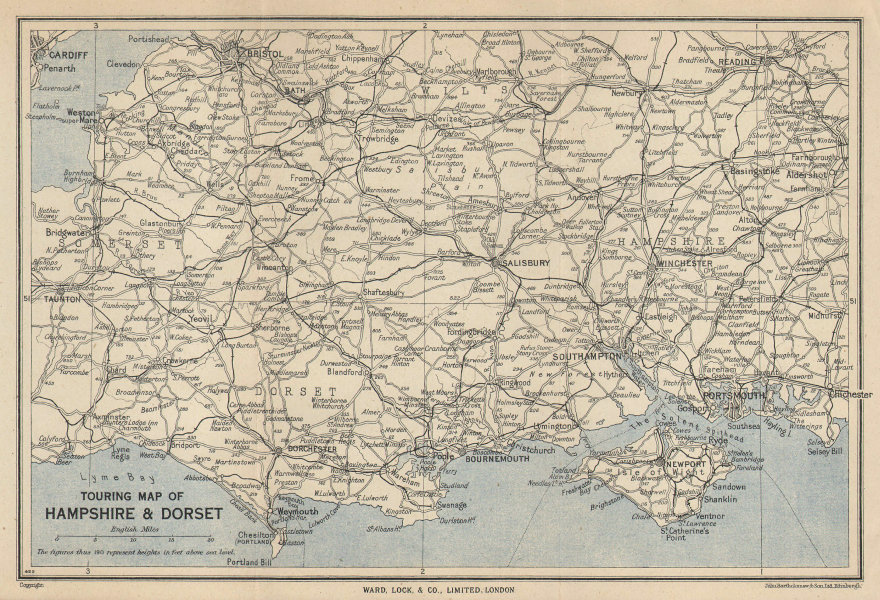 TOURING MAP OF HAMPSHIRE & DORSET. Wiltshire Somerset. WARD LOCK 1951 old