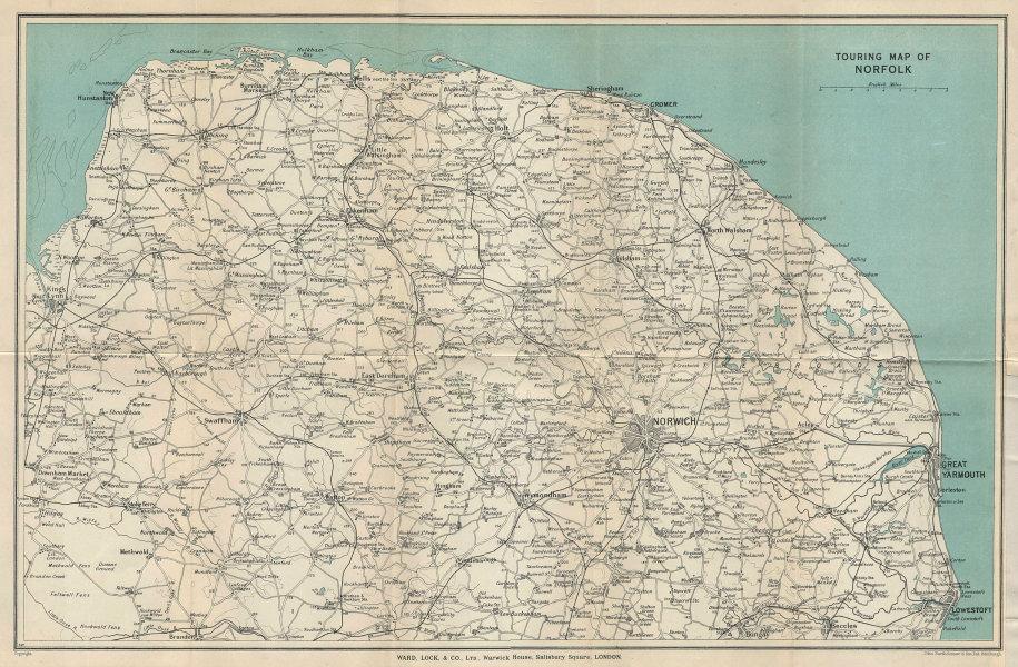 NORFOLK VINTAGE TOURING MAP. Broads. Yarmouth Norwich Cromer. WARD LOCK 1937
