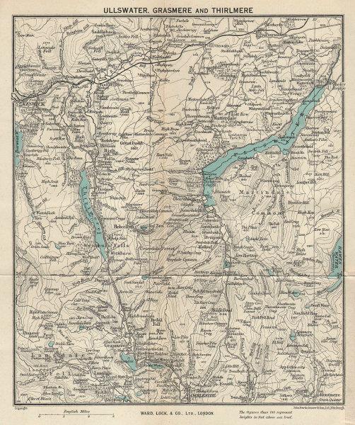 ULLSWATER, GRASMERE & THIRLMERE. Lake District Cumbria. WARD LOCK 1950 old map