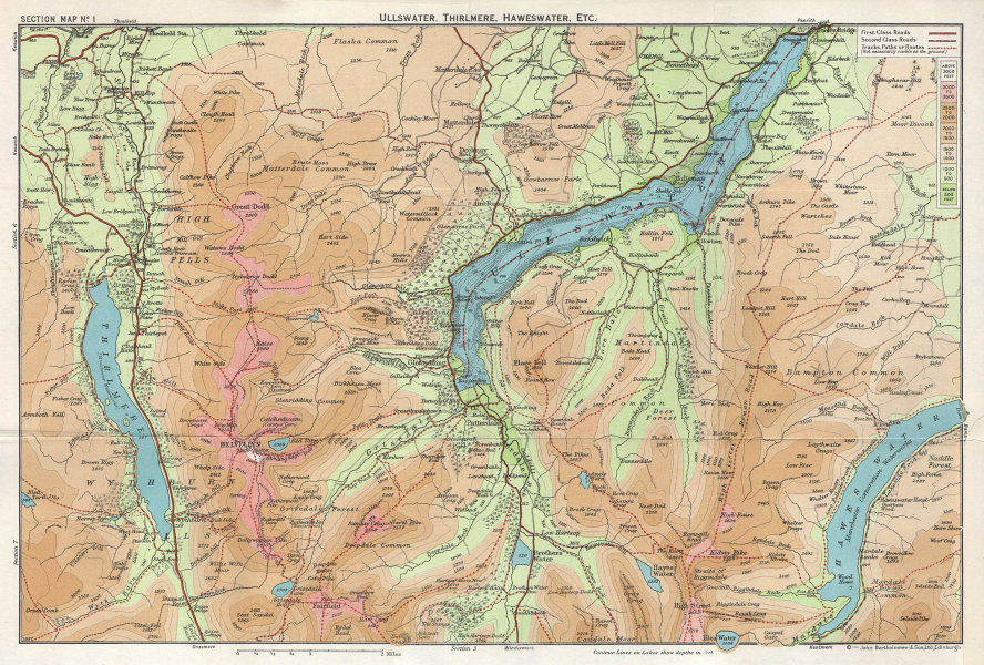 LAKE DISTRICT Ullswater Thirlmere Haweswater Grisdale Helvellyn Cumbria 1964 map
