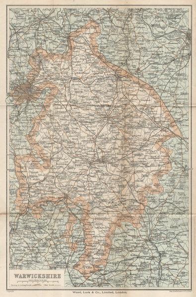 WARWICKSHIRE vintage county tourist map cycling driving roads WARD LOCK 1900
