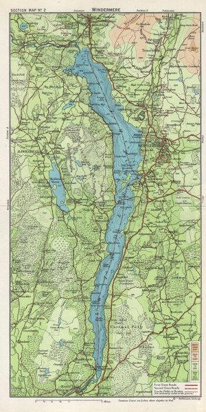 WINDERMERE Lake District Ambleside Hawkshead Cumbria. WARD LOCK 1964 old map
