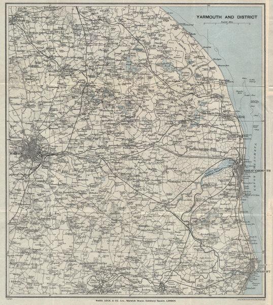 NORFOLK BROADS. Great Yarmouth Lowestoft Beccles Norwich. WARD LOCK 1928 map