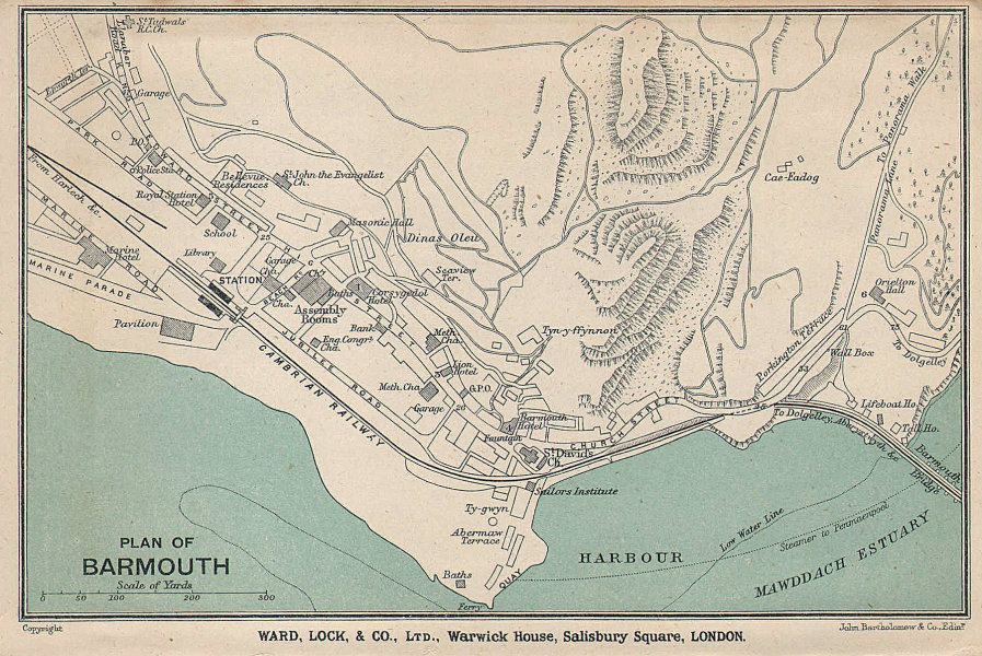 BARMOUTH vintage town/city plan. Wales. WARD LOCK 1920 old vintage map chart