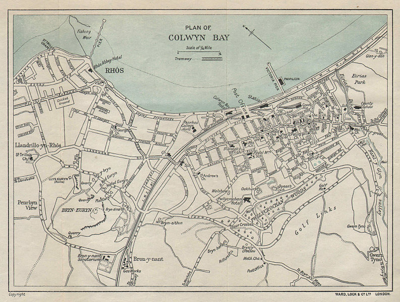 COLWYN BAY vintage town/city plan. Wales. WARD LOCK 1929 old vintage map chart