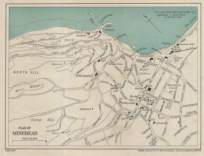 MINEHEAD vintage town/city plan. Somerset. WARD LOCK 1936 old vintage map